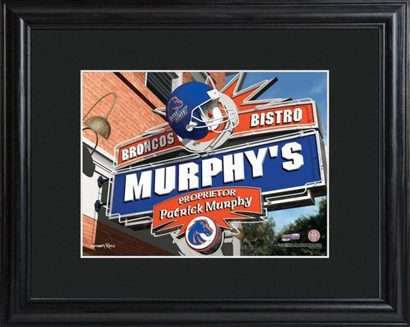 Personalized College Hangout Sign w/Matted Frame - BoiseState - JDS