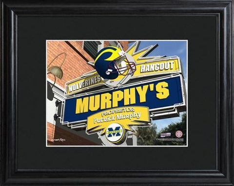 Personalized College Hangout Sign w/Matted Frame - Michigan - Personalized Wall Art - AGiftPersonalized