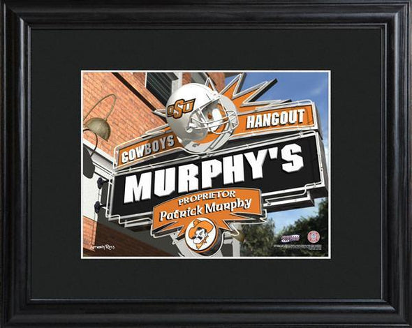 Personalized College Hangout Sign w/Matted Frame - OklahomaState - JDS