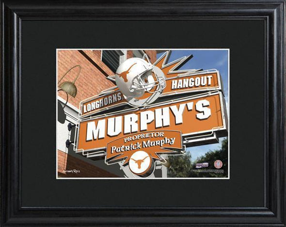 Personalized College Hangout Sign w/Matted Frame - Texas - JDS