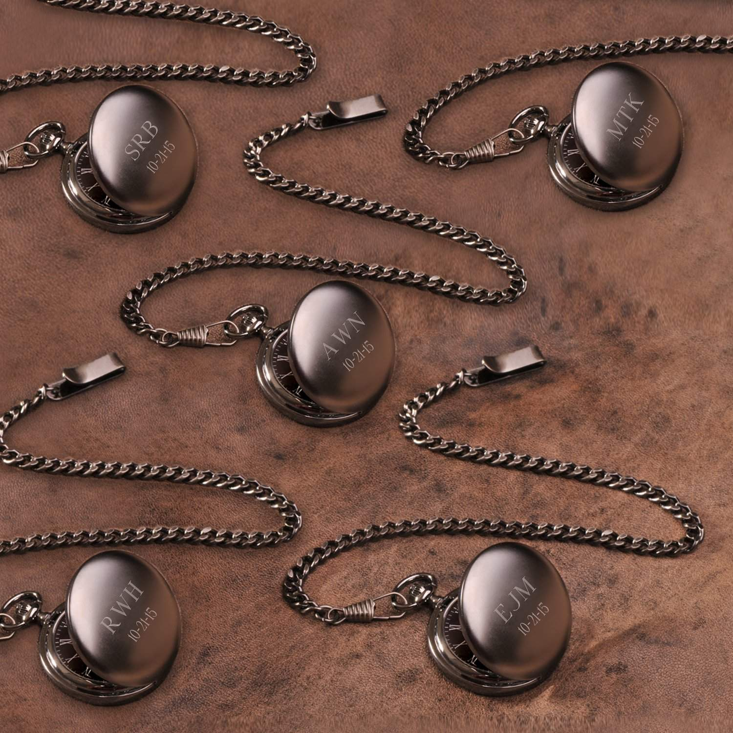 Set of 5 Personalized Gunmetal Pocket Watches