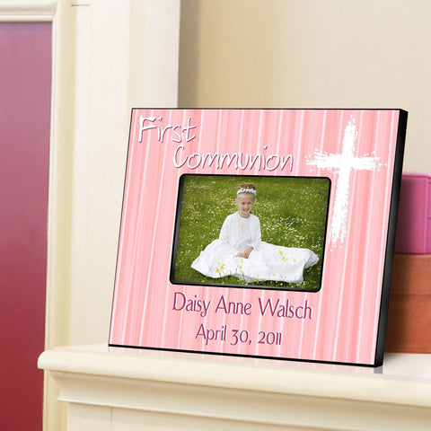 Personalized First Communion Picture Frame-Light of God - Pink - Frames - AGiftPersonalized