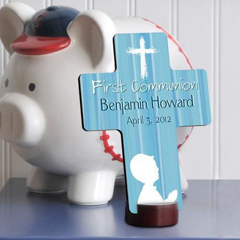 Personalized First Communion Cross for boys and girls - Blue