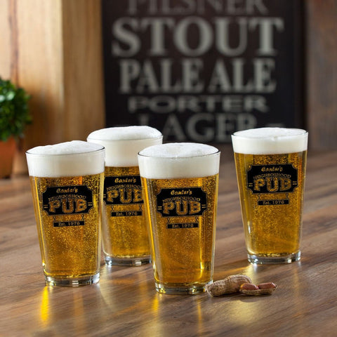 Personalized Pint Glasses - Set of 4 - Groomsmen Gifts - NeighborhoodPub - Personalized Barware - AGiftPersonalized