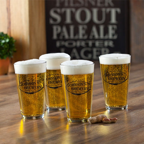 Personalized Pint Glasses - Set of 4 - Groomsmen Gifts - Weizen - Personalized Barware - AGiftPersonalized