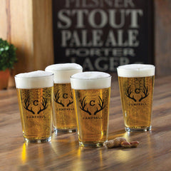 Personalized Pint Glasses - Set of 4 - Groomsmen Gifts - Antlers - Personalized Barware - AGiftPersonalized
