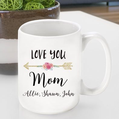 Personalized Ceramic Love You Coffee Mug - Mom - Grandma - Mom - JDS