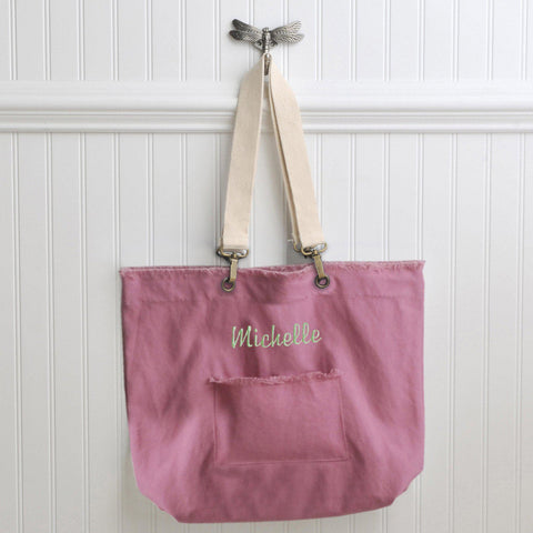 Personalized Tote Bags - Canvas - 4 Colors - Gifts for Her - Pink - Tote Bags - AGiftPersonalized