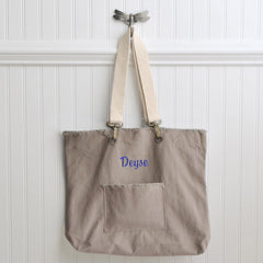 Personalized Canvas Tote Bag - Choose from 4 Colors - Khaki - Tote Bags - AGiftPersonalized