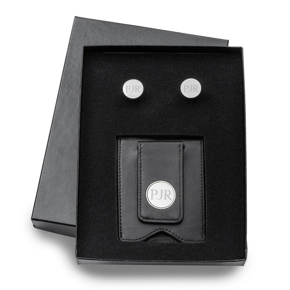 Personalized Black Leather Money Clip & Pin Stripe Cuffllinks Gift Set -  - JDS