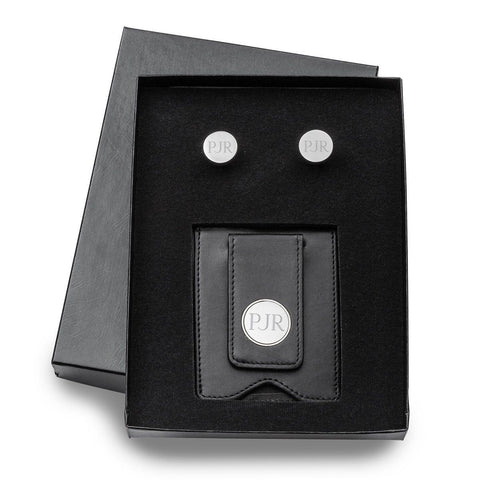 Personalized Black Leather Money Clip & Pin Stripe Cuff Links Gift Set -  - Money Clips - AGiftPersonalized