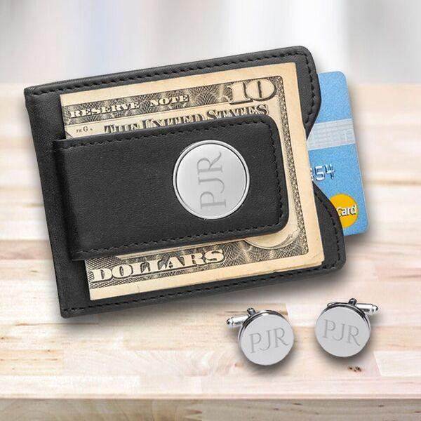 Personalized Black Leather Money Clip & Pin Stripe Cuff Links Gift Set