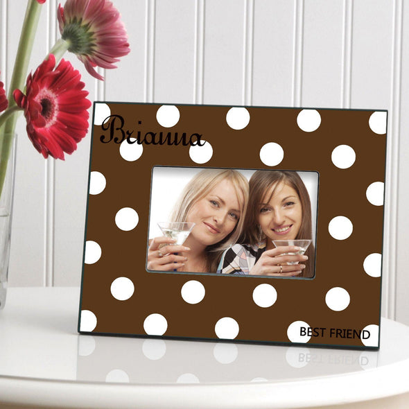 Personalized Polka Dot Picture Frame - All - Brown - JDS
