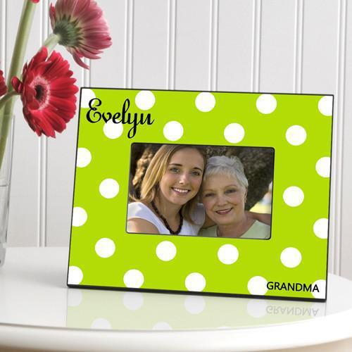 Personalized Polka Dot Picture Frame - All - Green - JDS