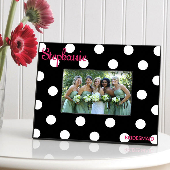 Personalized Polka Dot Picture Frame - All - Black - JDS