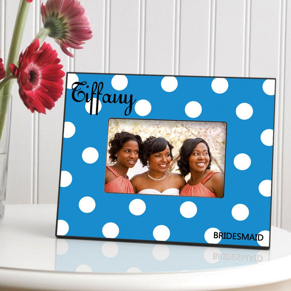 Personalized Polka Dot Picture Frame - All - Blue - JDS