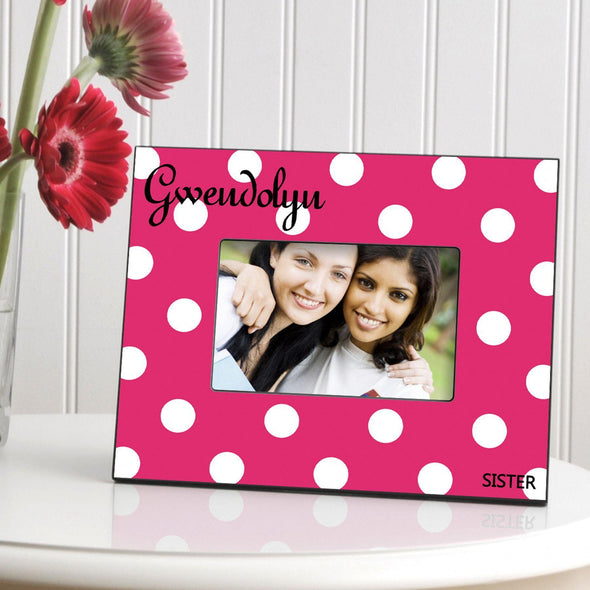 Personalized Polka Dot Picture Frame - All - Pink - JDS