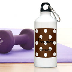 Personalized Water Bottle - Polka Dot - Cocoa - Travel Gear - AGiftPersonalized