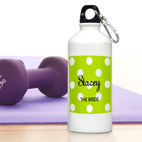 Personalized Water Bottle - Polka Dot - GreenApple - Travel Gear - AGiftPersonalized
