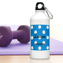 Personalized Water Bottle - Polka Dot - Sapphire - Travel Gear - AGiftPersonalized