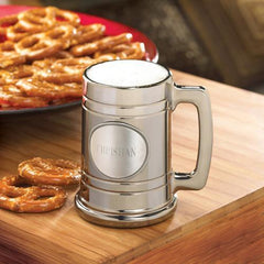 Personalized Gunmetal Beer Mug w/Pewter Medallion