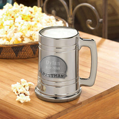 Personalized Beer Mugs - Medallion - Gunmetal - Groomsmen Gift - Bestman - Glassware - AGiftPersonalized