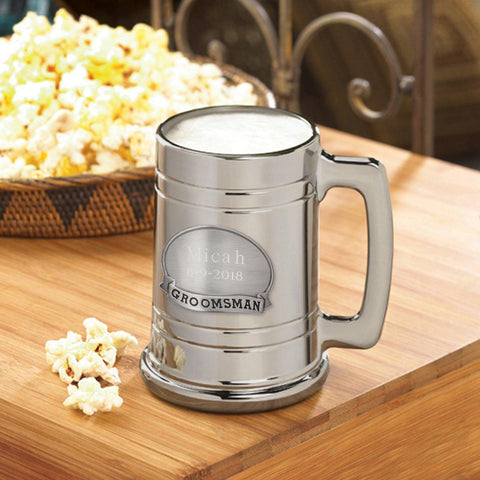 Personalized Beer Mugs - Medallion - Gunmetal - Groomsmen Gift - Groomsman - Glassware - AGiftPersonalized