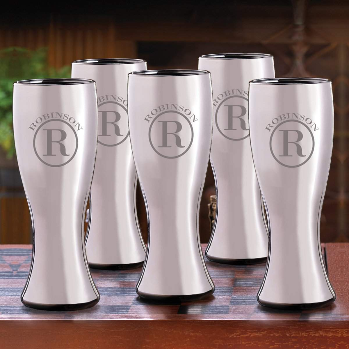 Set of 5 Personalized 20oz Gunmetal Pilsner Beer Glasses