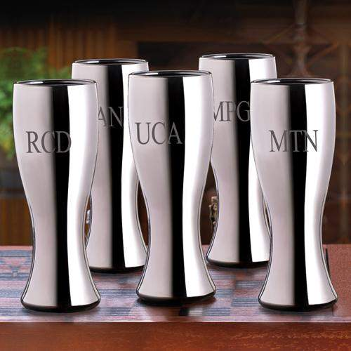 Set of 5 Personalized 20 ounce Gunmetal Pilsner Beer Glasses