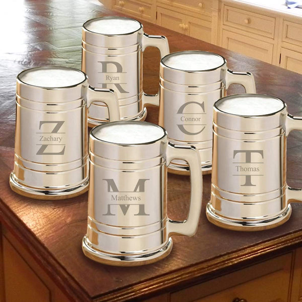 Personalized Gunmetal Beer Mug Set of 5 - Stamped - JDS
