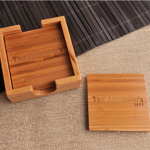 Custom Coasters - Set of 4 - Bamboo - Cabin Decor -  - Personalized Barware - AGiftPersonalized