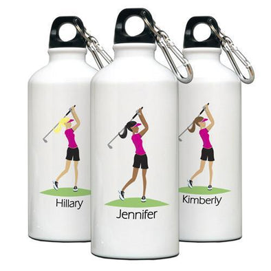 Personalized Go-Girl Water Bottle - Golfer, Runner, Shopper, Yoga - Golfer - JDS