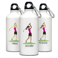 Personalized Go-Girl Water Bottle - Golfer, Runner, Shopper, Yoga