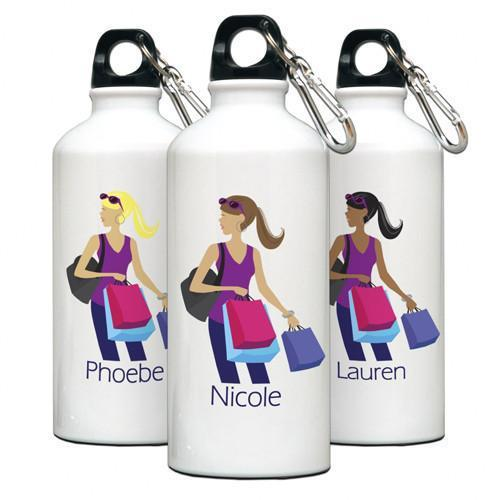 Personalized Go-Girl Water Bottle - Golfer, Runner, Shopper, Yoga - Shopper - JDS