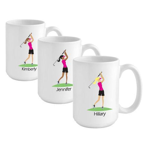 Personalized Go-Girl Coffee Mug - Golfer, Runner, Shopper, Yoga - Golfer - Gifts for Her - AGiftPersonalized