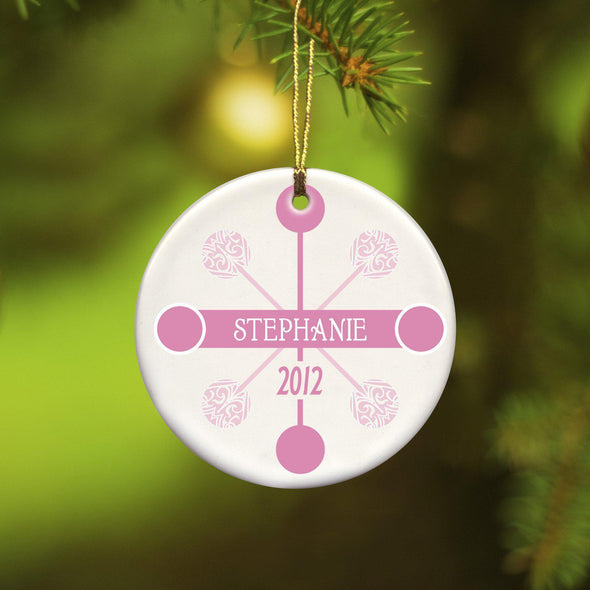 Personalized Blue Contemporary Ceramic Ornament - Pink - JDS