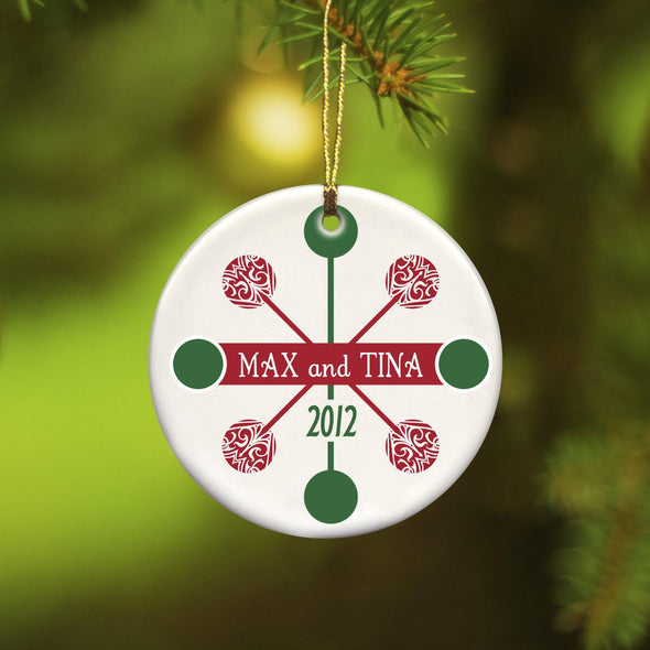 Personalized Blue Contemporary Ceramic Ornament - Red Green - JDS