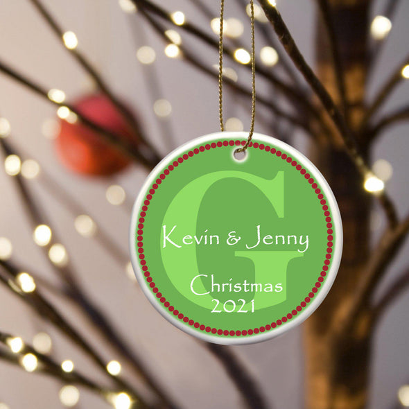 Personalized Ceramic Ornaments - Christmas Ornaments - Green - JDS