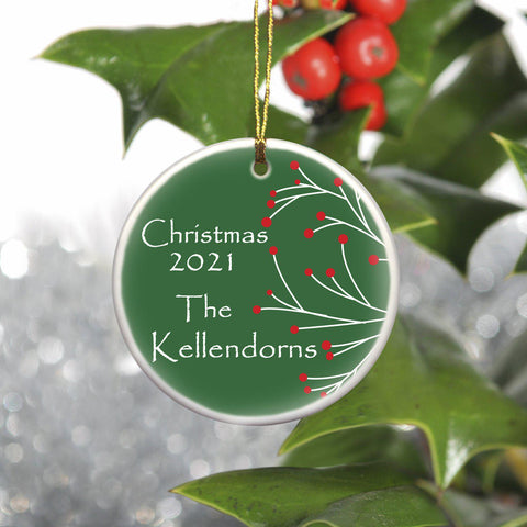 Personalized Simply Natural Ceramic Ornament - Red