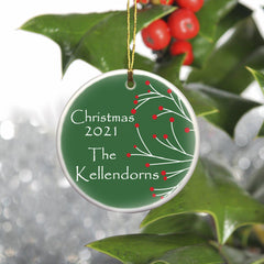 Personalized Simply Natural Ceramic Ornament - Green - Ornaments - AGiftPersonalized