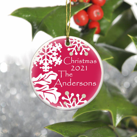 Personalized Simply Natural Ceramic Ornament - Red - Ornaments - AGiftPersonalized