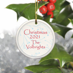 Personalized Simply Natural Ceramic Ornament - White