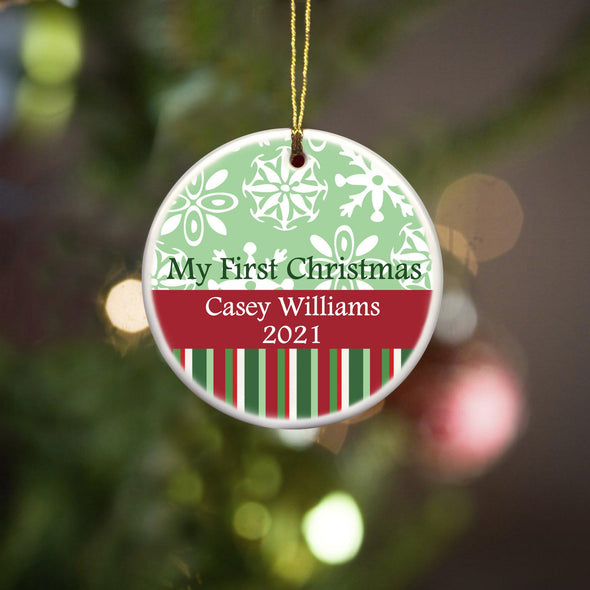 Personalized My First Christmas Ornament - Christmas Ornament - RedGreen - JDS