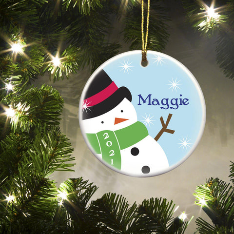 Personalized Ornaments - Christmas Ornaments - Kids - Ceramic - Snowman - Ornaments - AGiftPersonalized