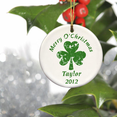 Personalized Irish Ceramic Ornaments - ChristmasClover - JDS