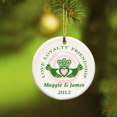 Personalized Ornaments - Christmas Ornaments - Irish Ceramic Ornaments - Claddagh