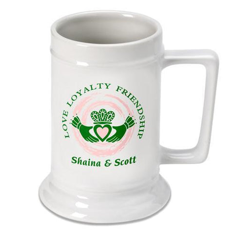 Personalized Claddagh Beer Stein -  - Irish Gifts - AGiftPersonalized