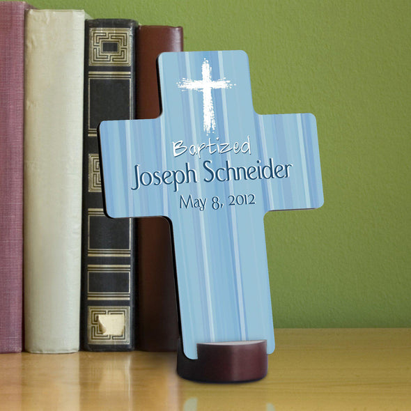 Personalized Baptismal Cross - Hear My Prayer - Blue - JDS