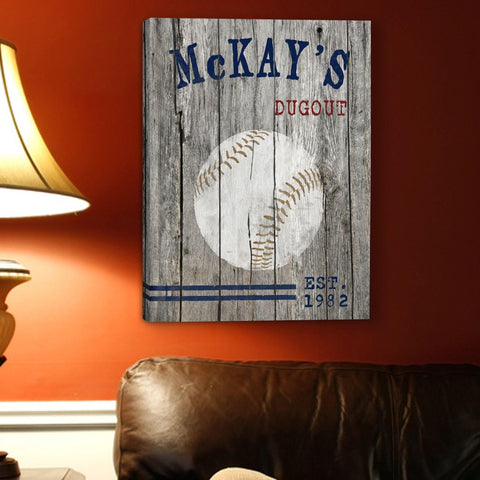 Personalized Man Cave Canvas Prints - Vintage - Baseball