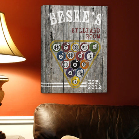 Personalized Man Cave Canvas Prints - Vintage - Billiards